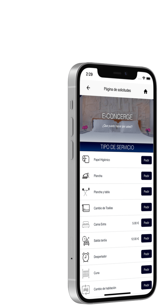 econcierge list services from hotel app